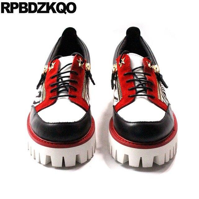 حذاء جديد فاخر من Oxfords بتصميم زاحف من المطاط وطرف معدني من الجلد الطبيعي حذاء رجالي عصري غير رسمي عالي الجودة بسوستة مقاس كبير