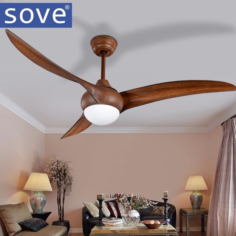 52 pouce LED Brun DC 30 w village ventilateurs de plafond avec lumières minimaliste salle à manger salon plafond ventilateur avec télécommande contrôle