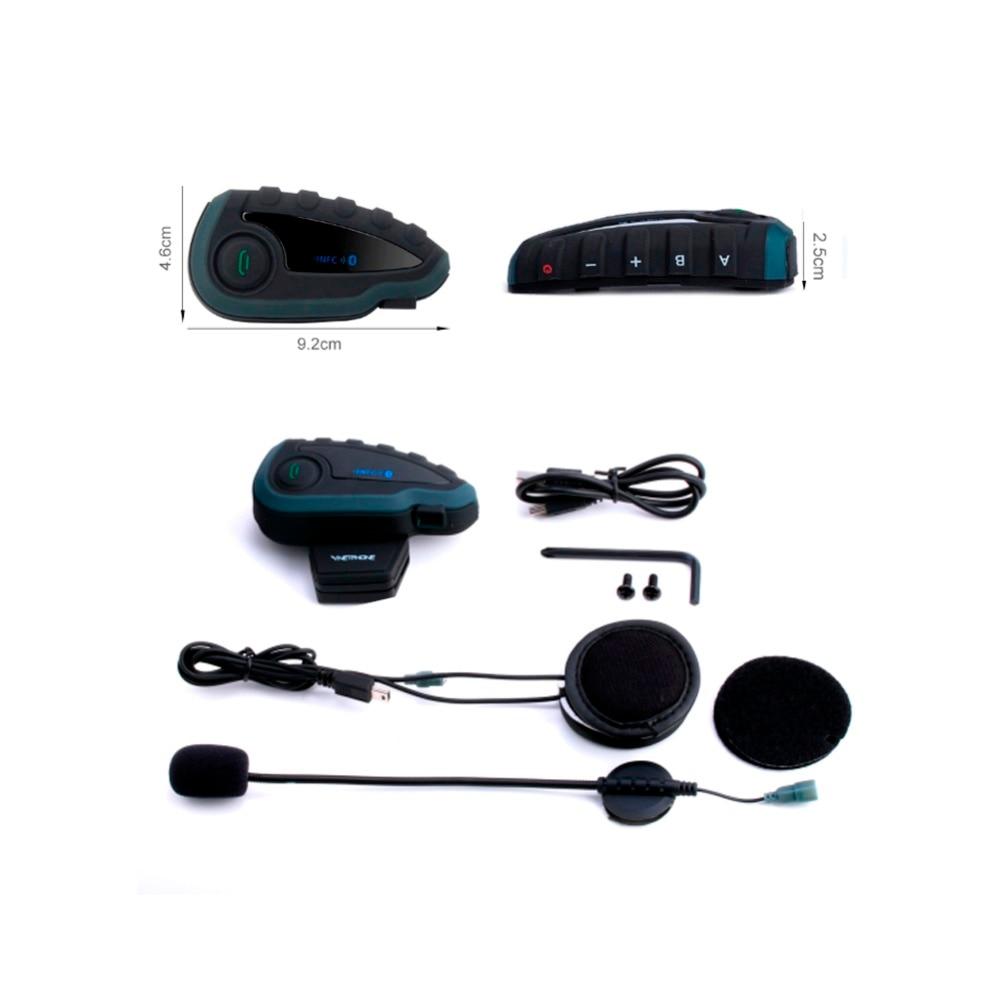 VNETPHONE V8 Intercom Without Remote Control 5-Way Group Talk Bluetooth Motorcycle Helmet Headset FM NFC 1.2KM