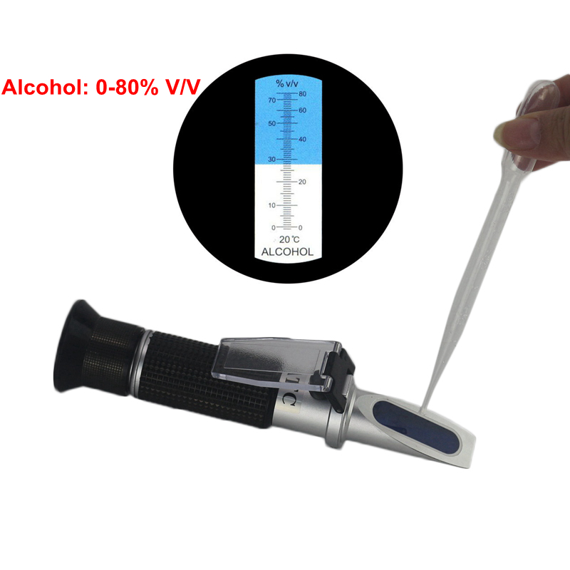 0-80% Alcohol Refractometer Hydrometer Alcoholmeter Refratometro Wine Concentration ATC Spirits Tester Handheld alcohol refractometer for spirit alcohol volume percent measurement with automatic temperature compensation atc range 0 80%