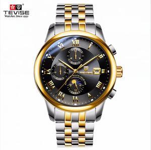 Image 3 - Herren Uhren Automatische Mechanische Uhr TEVISE Mond Phase Wasserdicht Leucht Datum Automatische Uhr Männer Junge Armbanduhren