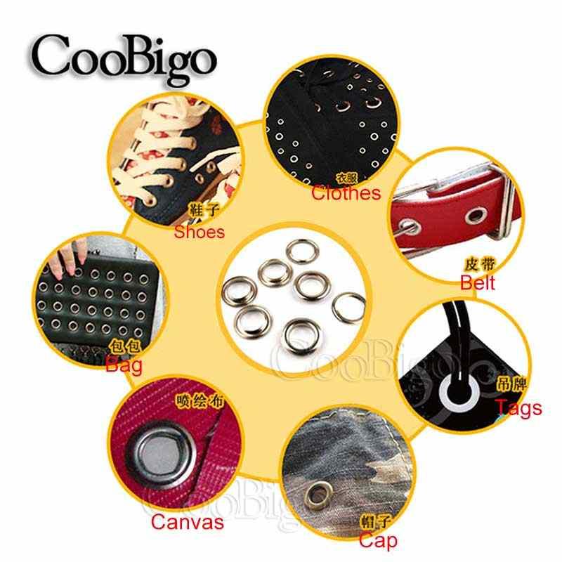 50 комплекты отверстия 5 мм Металлические Люверсы с люверсами для Leathercraft DIY Скрапбукинг обувь ремень Кепки сумка ценники для одежды аксессуары