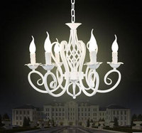 Wrought Iron Chandelier Light FixturesWhite Pendant Lamps Luminaria E14 Bulb Abajur Para Quarto Lustre Decorative GY