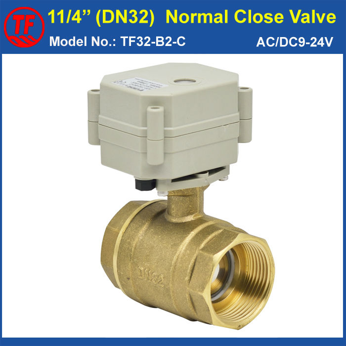 High Quality Motorized ball Valve 2 Way 1-1/4'' DN32 AC/DC9-24V 2 Wires Normal Close Valve Metal Gear Highly Recommend high quality hydraulic valve cvi 32 d10 h 40