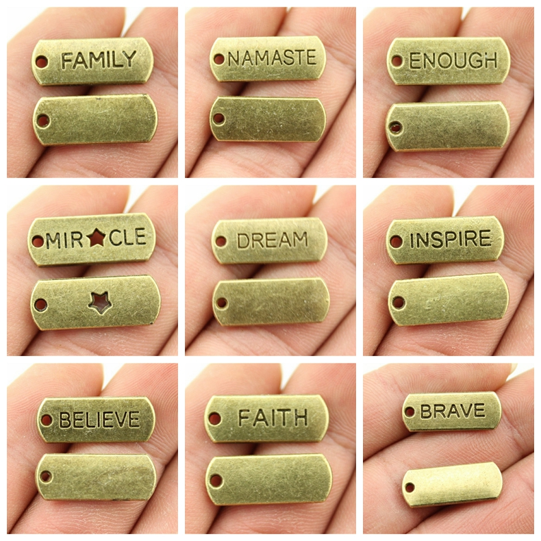 2019 Mix Charms For Jewelry Making Diy Craft Supplies Encourage Text Tag Charms Men Jewelry in Charms from Jewelry Accessories