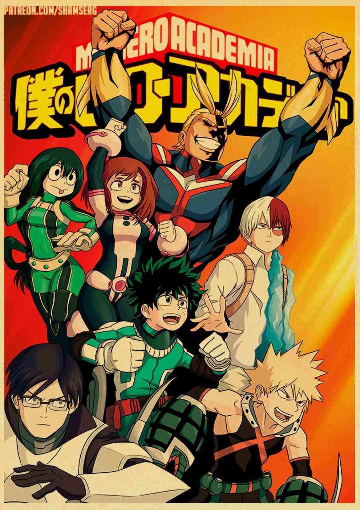 Janpnese Anime Mijn Hero Academia Retro Posters Kraft Behang Hoge Kwaliteit Schilderij Voor Home Decor Muurstickers