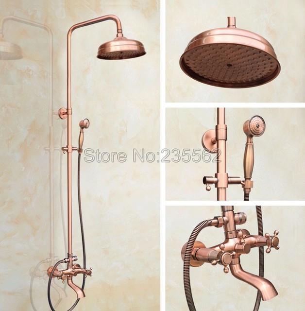 Antique Red Copper 8 Inch Rain Shower Head Bathroom Rainfall Shower Faucet  Set With Clawfoot Bathtub