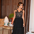 Black Lace Appliqued Tulle Evening Gown A Line See Shrough Celebrity Dresses Evening Gowns