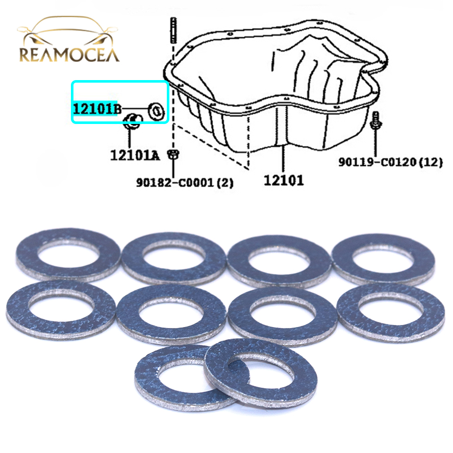 Reamocea 10Pcs 9043012031 Oil Drain Plug Washer Gasket For Lexus ES350 GX460 IS250 Toyota Camry Corolla Celica RAV4 Scion XA TC
