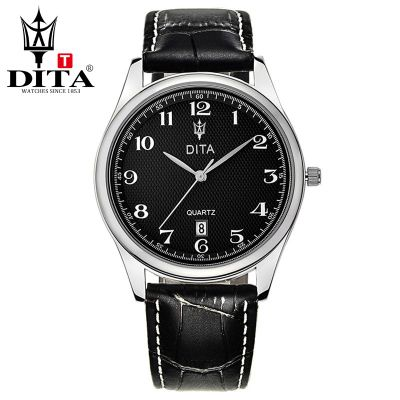 DITA New Mens analog leather strap Wristwatches mens Quartz Business Casual Classic Wristwatch Arab number# brown black strap