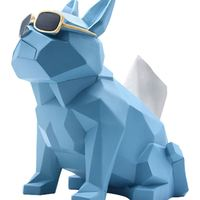 Geometric Bulldog Tissue Holder Figurine Animal Dog Cassette Paper Holder Pumping Tray Art Sculpture Resin Home Decoration R509