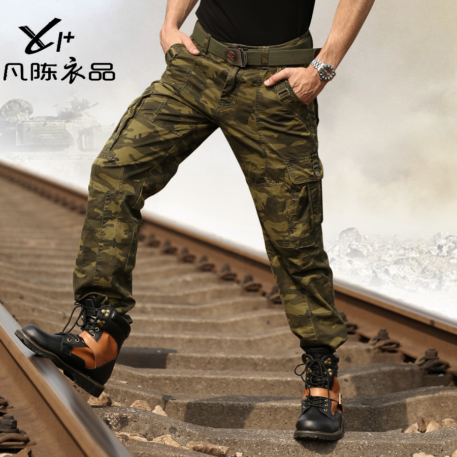 free shipping new men's Camouflage pants male trousers overalls casual loose multi pocket pants military plus size promotion