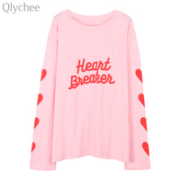 Qlychee Spring Autumn Women Harajuku Tee Top Letters Print T Shirt Long Sleeve Heart Print Casual