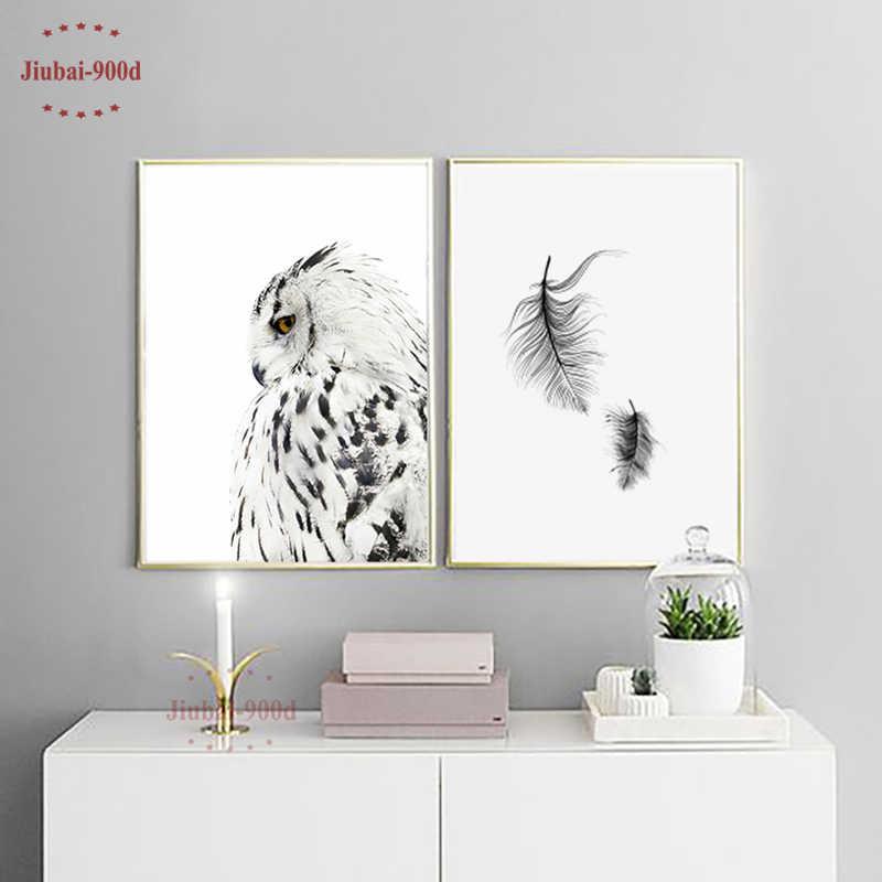 900D плакаты и репродукции, настенное Искусство Холст Картина настенные картины для гостиной нордическая сова украшение домашний декор NOR026