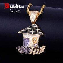 Casa de natal forma iced colar & pingente corrente cor ouro bling zircão cúbico masculino hip hop jóias livre tênis corrente
