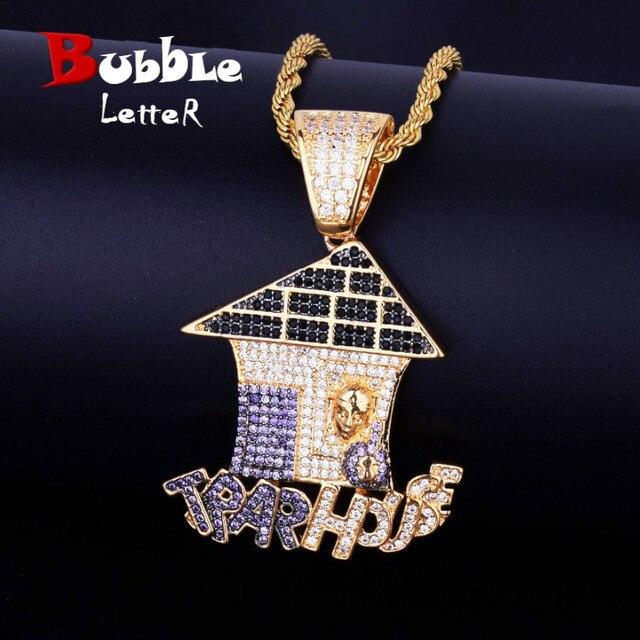 Christmas House Shape Iced naszyjnik i łańcuszek z wisiorem złoty kolor cielisty Cubic cyrkon męski hip hop biżuteria bezpłatny łańcuch tenisowy
