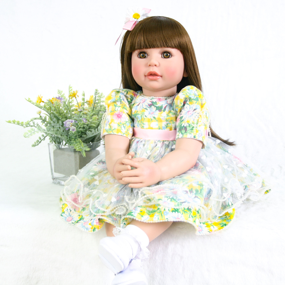 60cm Silicone Doll Pretty brown hair Newborn Doll Lifelike Reborn Baby Girls Toys brinquedos bonecas Christmas Gift Toys60cm Silicone Doll Pretty brown hair Newborn Doll Lifelike Reborn Baby Girls Toys brinquedos bonecas Christmas Gift Toys