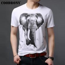COODRONY T Shirt Men Summer Casual Streetwear Tshirt 3D Elephant Short Sleeve T-Shirt Cotton O-Neck Tee Homme S95083