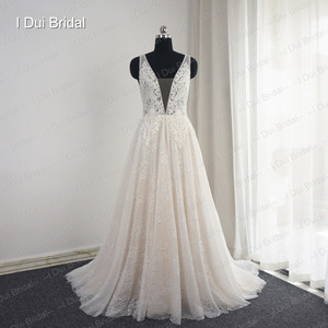 Image 5 - Plunging Neck Wedding Dresses Pearl Crystal Beaded Lace Bridal Gown Factory Custom Made Real Photo