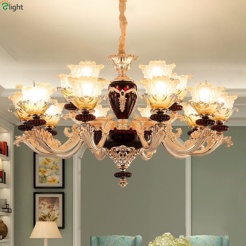 French Zinc Alloy Led Chandeliers Lighting Red Glass Living Room Led Pendant Chandelier Lights Dining Room Hanging Lamp Fixtures