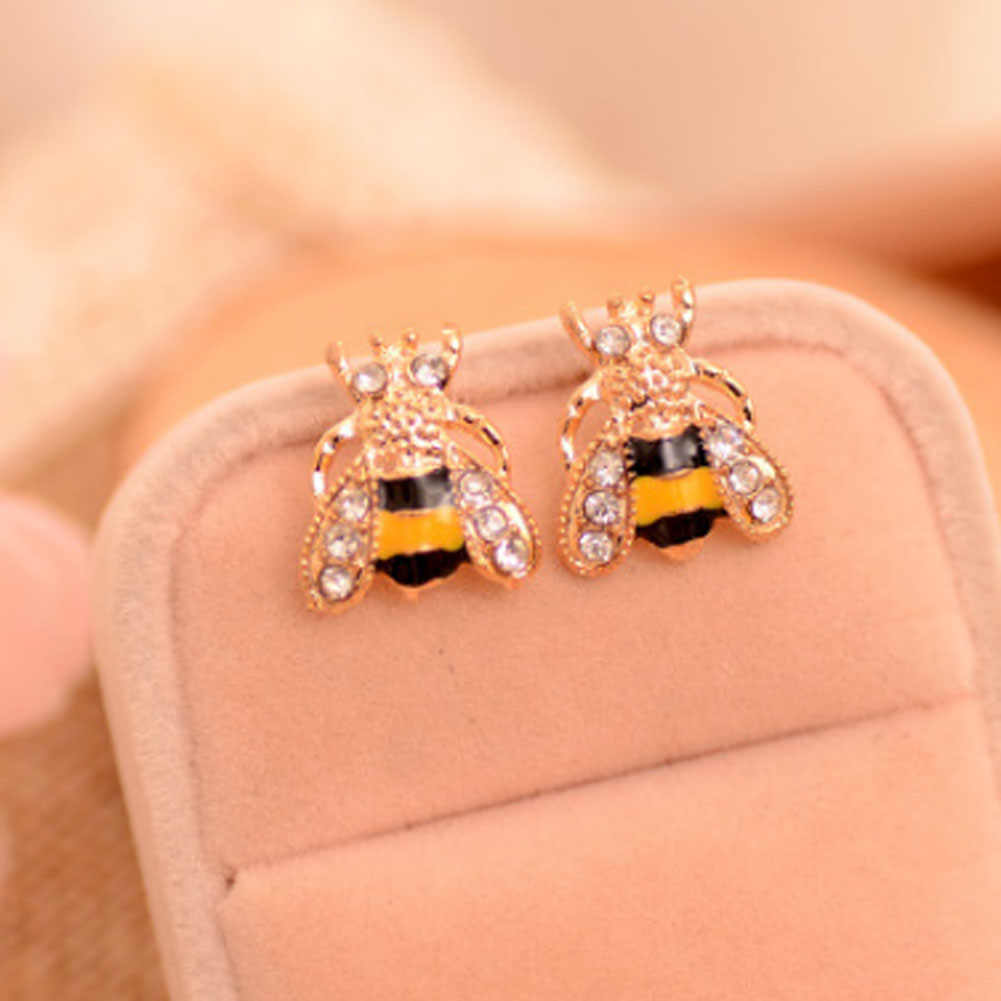 1 par/set moda bonito feminino senhora menina nova quente 2017 adorável popular pequena abelha cristal inseto parafuso prisioneiro brincos presente pode dropshiping