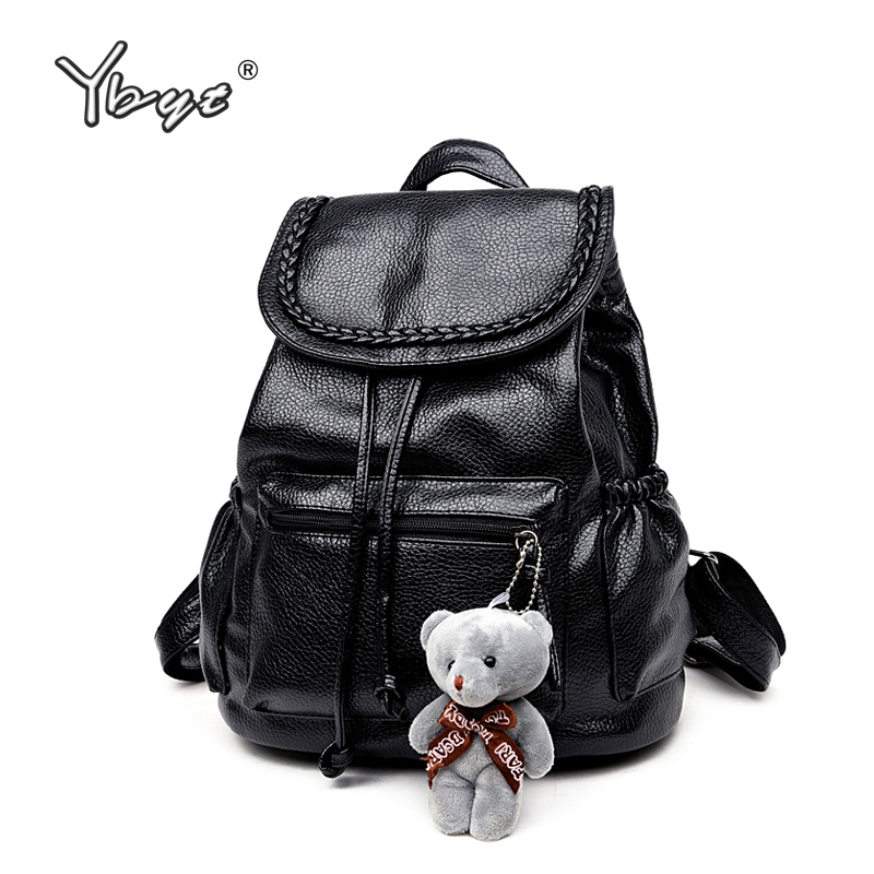 YBYT brand 2018 new women PU leather fashion preppy style rucksack simple bookbags teenagers student school backpack travel bags miwind famous brand preppy style leather school backpack bag for college simple design travel leather backpack bags tlj1082