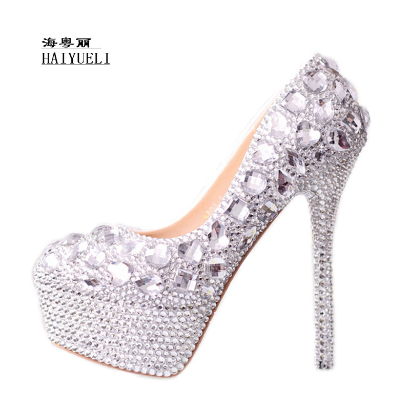 Women Pumps Handmade Crystal Wedding Shoes High Heel Platform Rhinestone Shoes Bridal Shoes Performance Shoes White Women Pumps newborn baby infant girls cute boys crochet knit costume photo photography prop pants with hat outfit clothes 0 3m baby