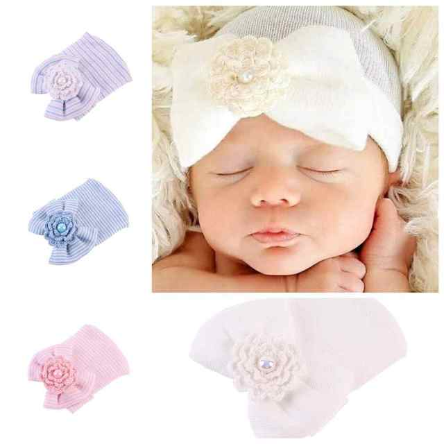 af99783983f53 Newborn Baby Cute Bowknot Flower Soft Cotton Hat Baby Striped Beanie Caps  Infant Girls Boys Knitted