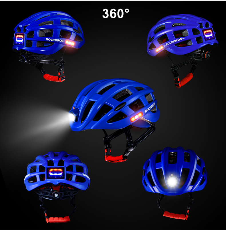 ROCKBROS Cycling Helmet with integrated front and side safety lights 14