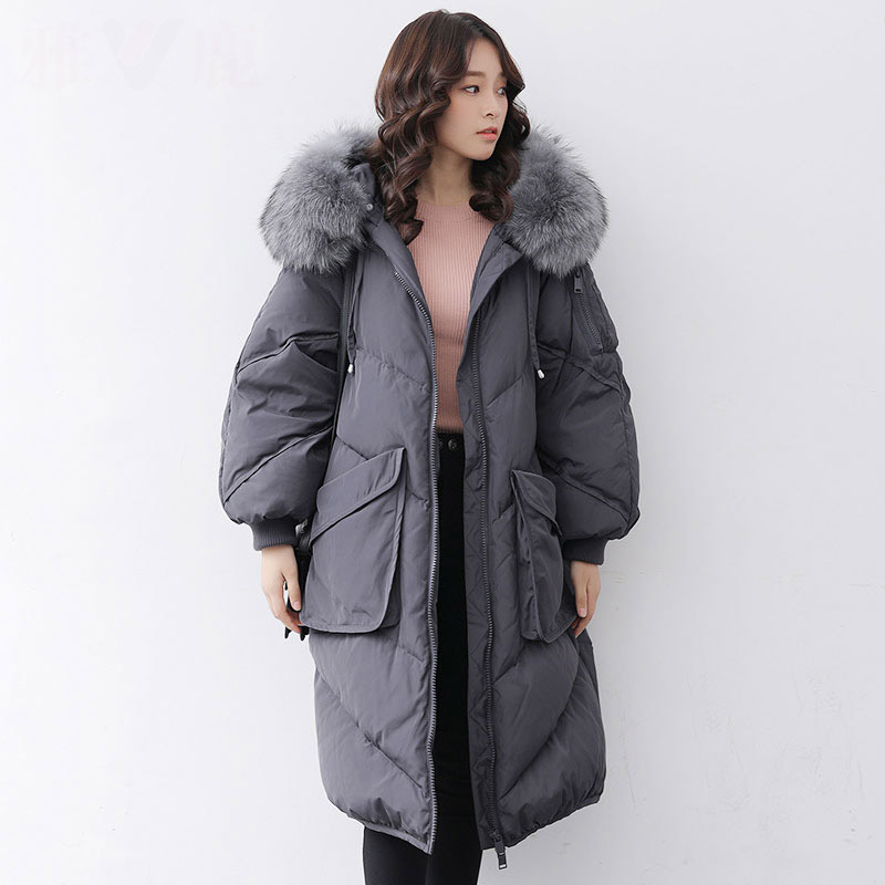 Natural raccoon fur collar hooded   down     coat   outerwear women big pockets loose fit   down   jacket 2019 autumn winter
