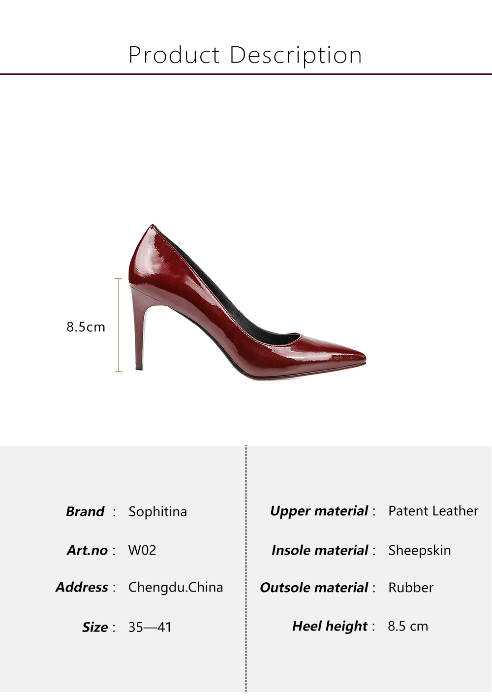 ... Bordeaux Patent Leather Thin Heels Pointed Toe New Girl Wedding Pumps  High Heel Sheepskin Shoes Women W2. 3 01. 3 02 3 03 01. brand name    SOPHITINA aebdda37a80b