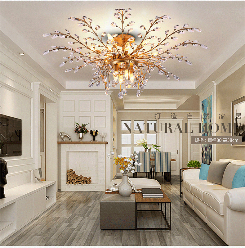 Retro loft American vintage Branches leaves crystal chandelier lustres de cristal livign room bedroom light