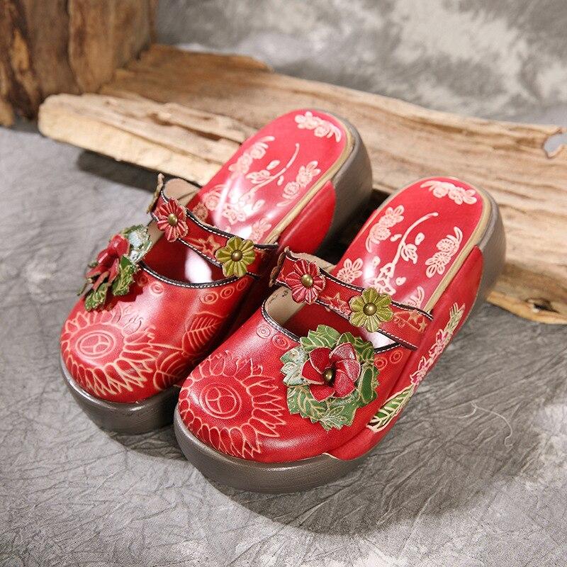 2019 여름 여성 플랫폼 라운드 발가락 샌들 메리 제인 레드 높이 증가 슬리퍼 plue 크기 정품 가죽 웨지 신발-에서하이힐부터 신발 의  그룹 2