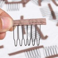 Toptan Peruk Aksesuarları 3.8 cm * 3 cm Saç Peruk Combs ve Klipler Için peruk kap siyah ve kahverengi renk 500 pcs lot peruk yapma taraklar