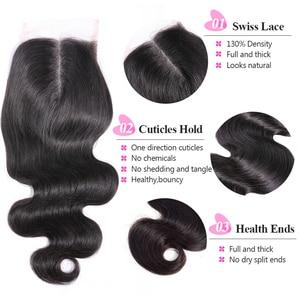 Image 2 - Перуанские волнистые волосы ISEE, 100% человеческие волосы Remy на шнуровке средней длины, 4*4, бесплатная доставка, натуральный цвет