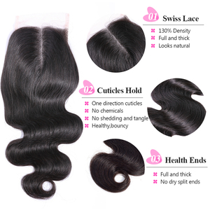 Image 2 - ISEE HAIR Peruvian Body Wave Closure 100% Remy Human Hair Lace Closure Middle Part Hand Tied  4*4 Free Shipping Nature Color