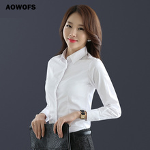 Summer Blouse Women Turn-down Neck Casual Blouses Tops Shirt Long Sleeve Shirts Business Office Lady Formal Slim White Shirt Top