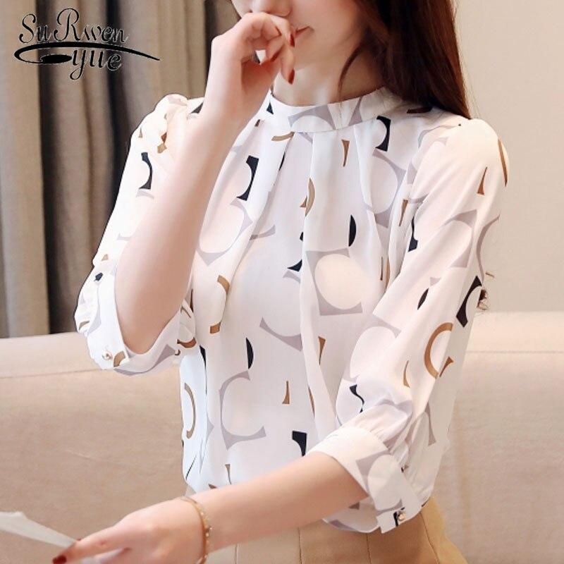 Blusas mujer de moda 2019 coreano roupas da moda partes superiores das mulheres blusas camisas tops Chiffon blusa camisa branca 2480 50