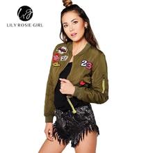 2016 Winter Casual Crop Sexy Amy Green Women Basic Badge Bomber Jacket Letter Short Autumn Coat Baseball Outerwear Chaquetas