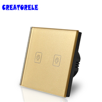 EU Standard Touch Switch 2 Gang 1 Way Gold Crystal Glass Panel Light Switch Touch Screen