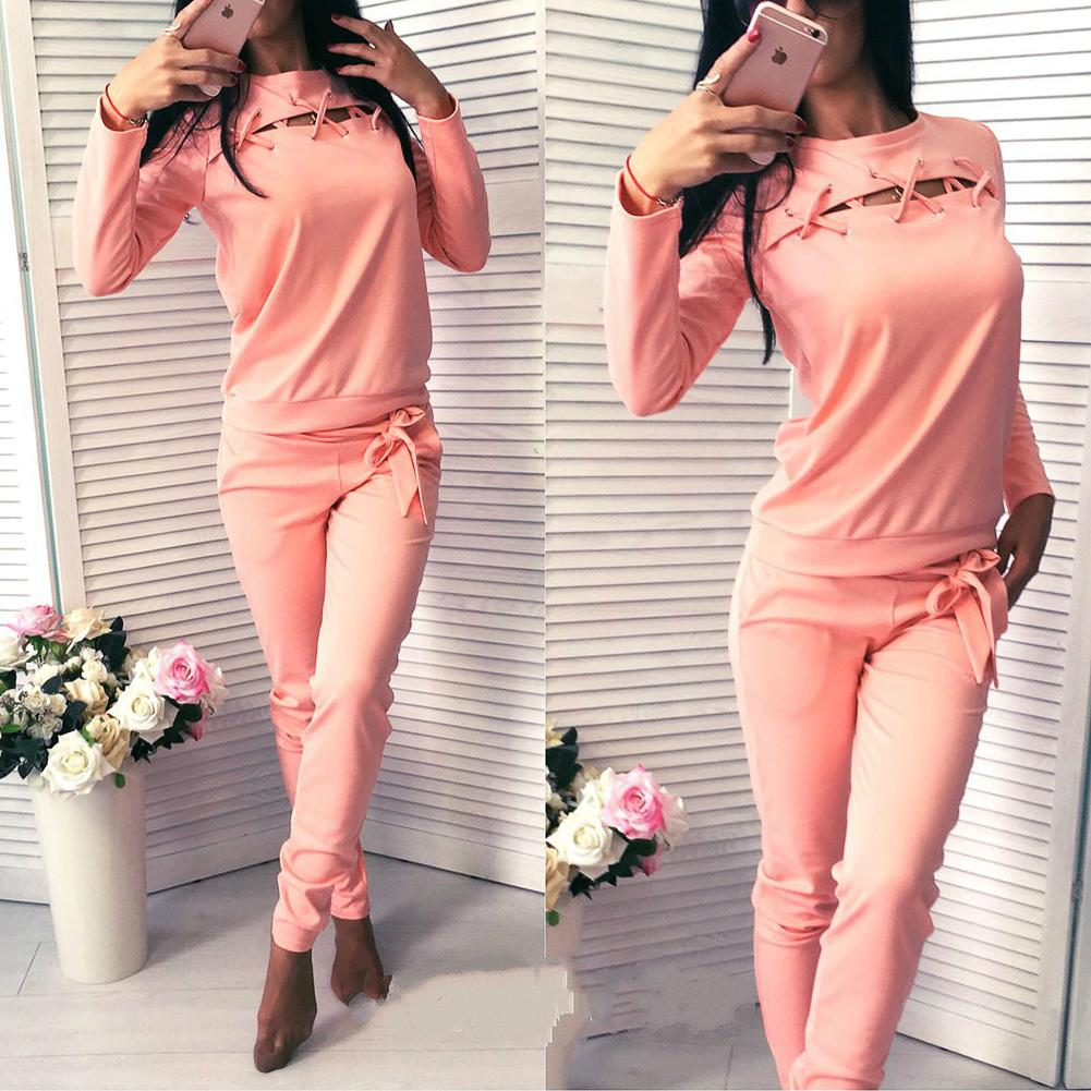 Pink Jogging Suits Women Tracksuits 2017 New Sports Suit 2 Pcs Hollow Out Long Sleeved Sweatshirt and Pants Sport Women's Suits