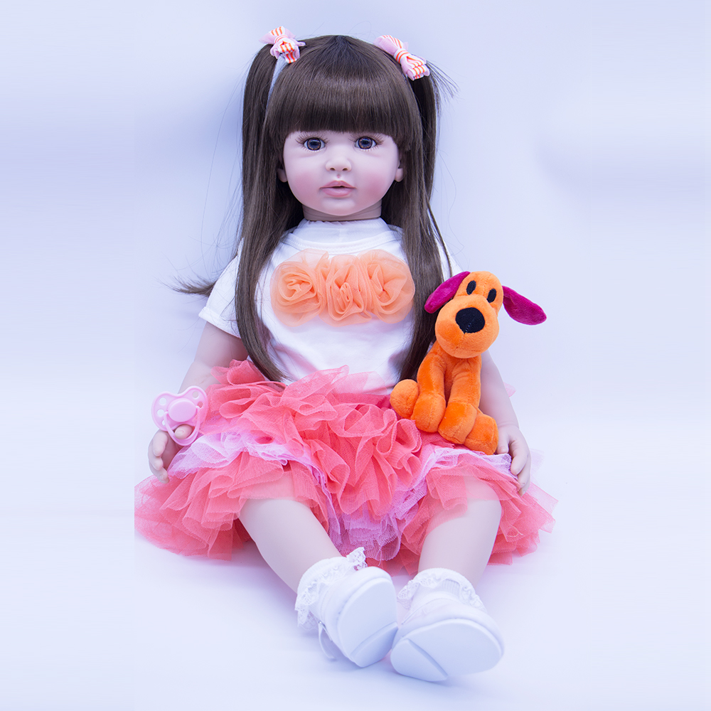 Soft Silicone Vinyl Reborn Baby Doll With 1pcs Mini Dog Plush Toys For Girl Long Hair Exquisite Princess Alive Babies Child Gift