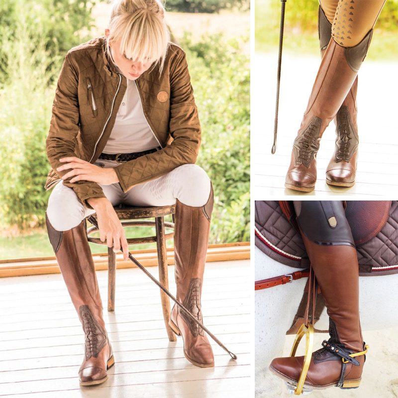 Women Equestrian Riding Boots High Rider Over the Knee Boots for Women Lace up Leather Knee