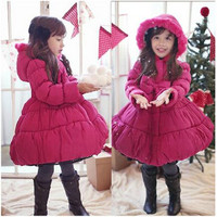 2014 New Children S Fashion Parkas Outerwear Christmas Baby Girl Overcoat Winter Thick Warm Princess Bow