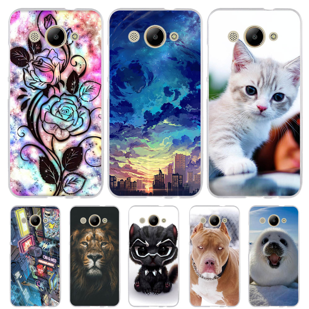 For Huawei Y3 2017 Case Cute Cat Funda Cover CRO-L02 CRO-L22 Silicon Phone Cases