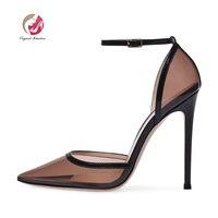 Оригинальные женские босоножки с острым носком, на тонком каблуке, с ремешком и пряжкой, элегантные черные женские туфли, американский разм