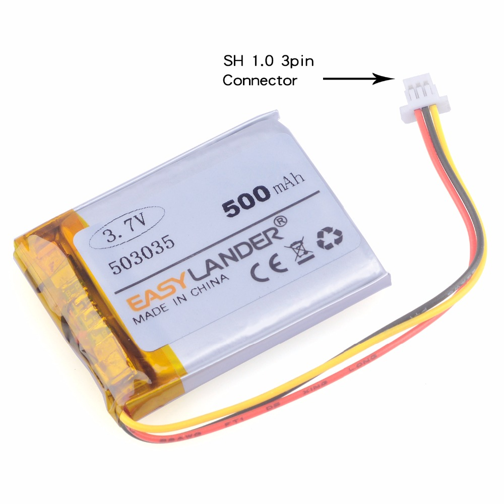 3-WIRE With plug <font><b>503035</b></font> <font><b>3.7V</b></font> <font><b>500mAh</b></font> Rechargeable Li Polymer Li-ion <font><b>Battery</b></font> For GPS PSP navigation MP3 MP4 MP5 DVR smart watch image