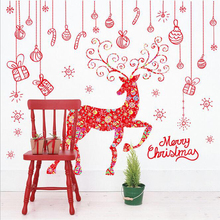 Merry Christmas PVC Wall Sticker Red Tree Elk Printed Eco-friendly Wall Door Decoration Christmas Gifts Window Home DIY Decor