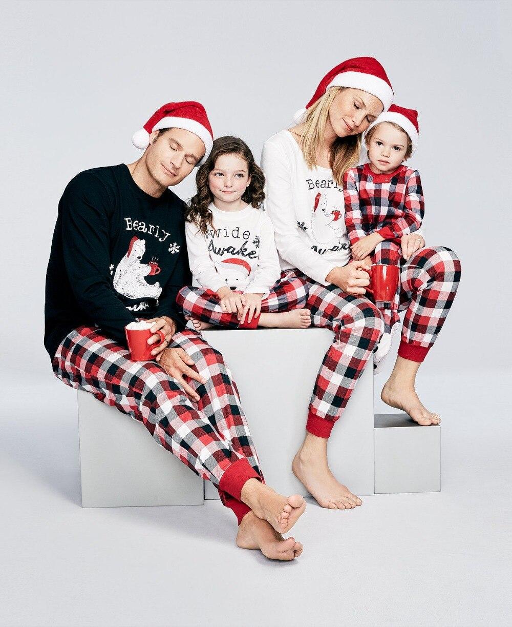 2018 New Plaid Christmas Pajamas Set Family Matching Outfits Xmas BEARLY AWAKE Mother Father Kid Family Set