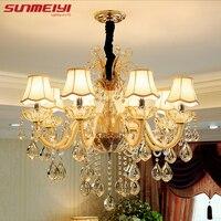 Modern Luxury Crystal Chandelier Lighting For Living Room European Lustre Para With Shade Indoor Pendant Lamp